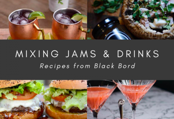 Mixing jams and drinks recipes from black bord